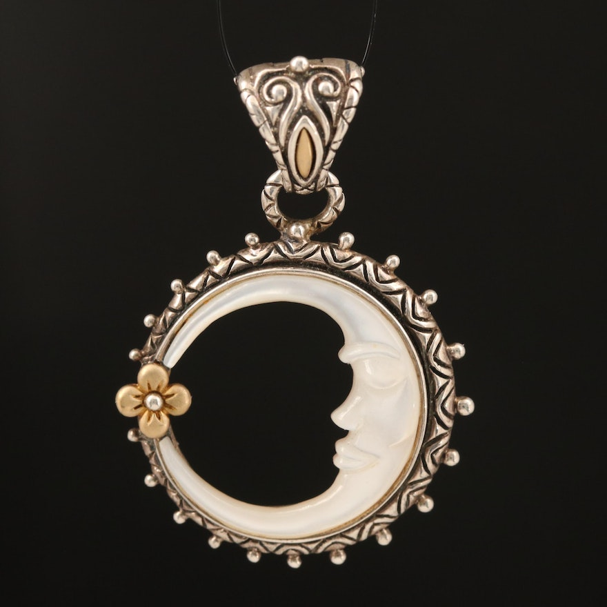 Bixby Mother of Pearl Crescent Moon and Flower Enhancer Pendant with 18K Accents