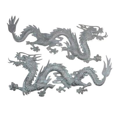 Korean Patinated Metal Figural Dragon Wall Decor
