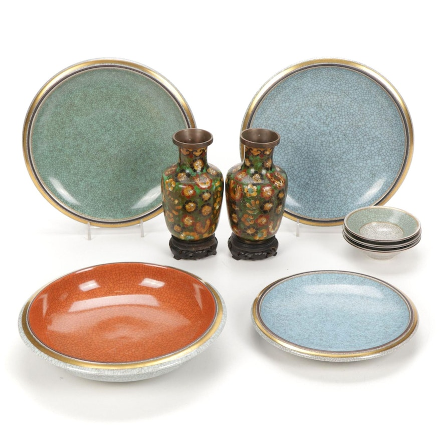 Royal Copenhagen by Thorkild Olsen Craquelure Dishes and Chinese Cloissone Vases