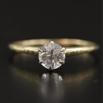 14K White Sapphire Solitaire Ring