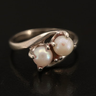 Vintage 10K Pearl Bypass Ring