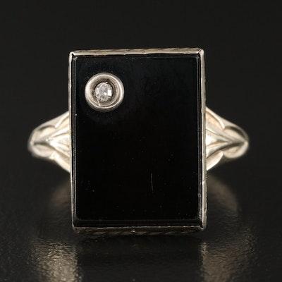 Art Deco 14K Black Onyx Ring with Diamond Accent