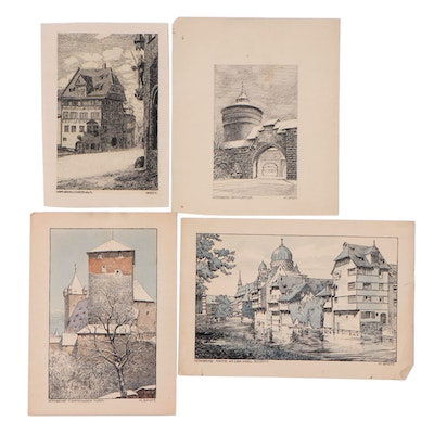 Hand-Colored Lithographs After M. Spott of Scenes from Nuernberg