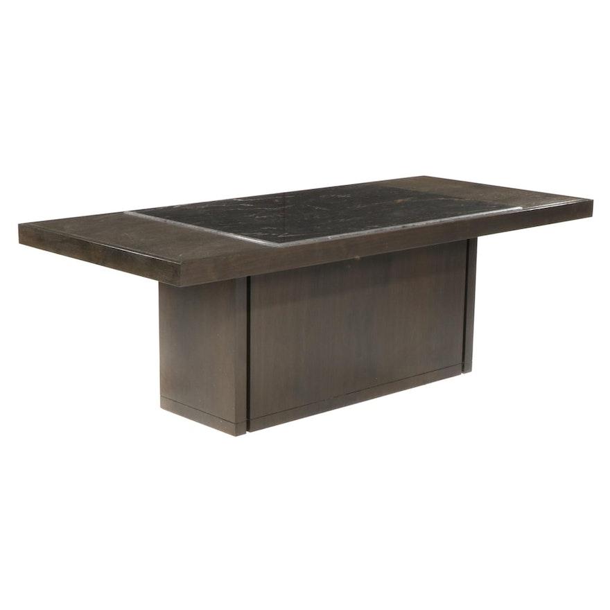 Alfred Tobocman Designed Modernist Marble-Inset Pedestal Dining Table
