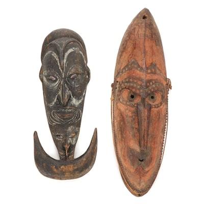 Hand-Carved Ramu River Area Style Masks, Papua New Guinea