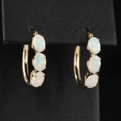 14K Opal Hoop Earrings