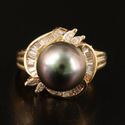 18K 10.50 MM Tahitian Pearl and Diamond Ring
