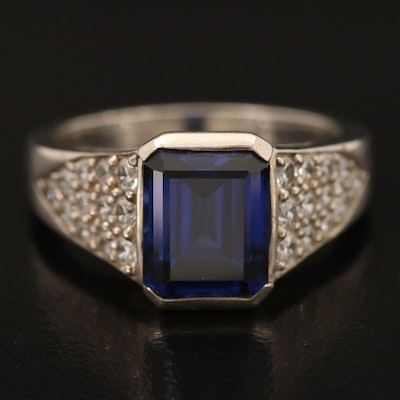 Kabana Sterling Sapphire and Cubic Zirconia Ring