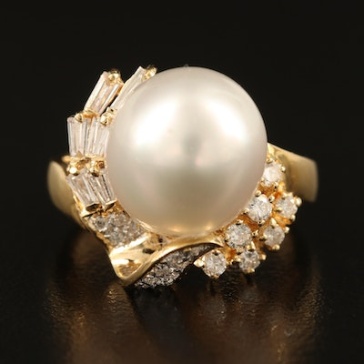 18K 11.50 MM Pearl and Diamond Ring
