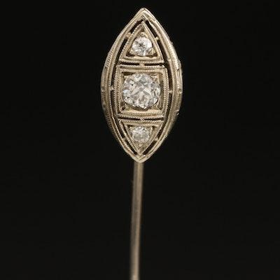 Art Deco 10K and 14K 0.34 CTW Diamond Navette Stick Pin with Milgrain Detail