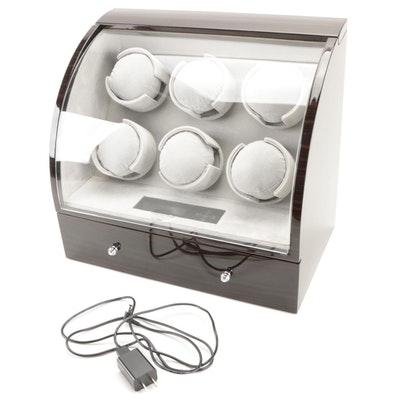 Six Watch Winder and Storage Case with High Gloss Wood Finish