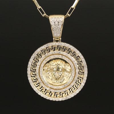 10K 1.00 CTW Medusa Pendant Necklace