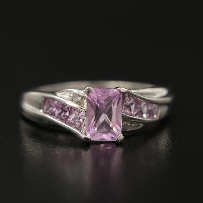 10K Pink Sapphire and Diamond Ring