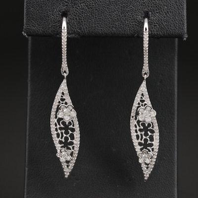14K 1.02 CTW Diamond Floral Openwork Earrings