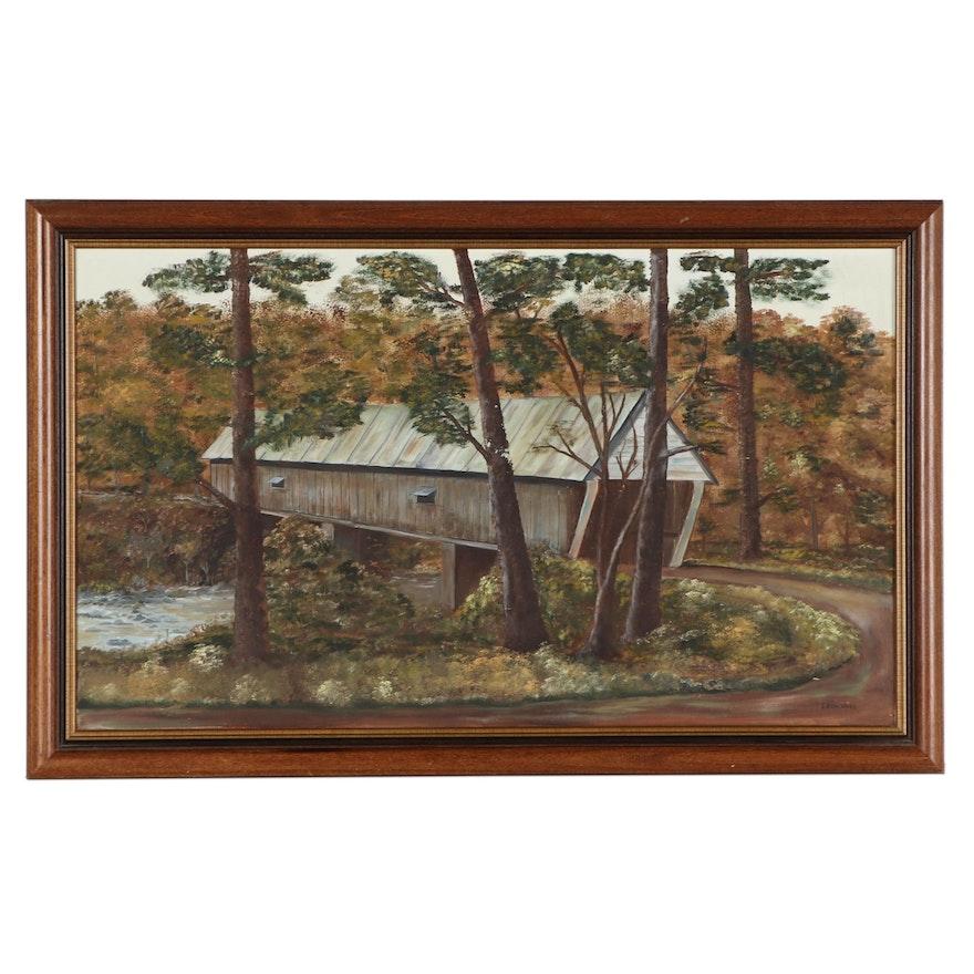 "Leon Moss Oil Painting ""Concord Road, Covered Bridge,"" Circa 1980"
