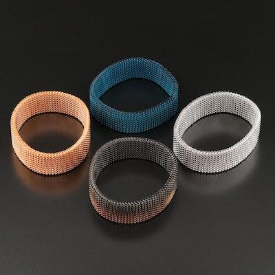 Teal, Copper, Silver and Black Expandable Mesh Bracelets