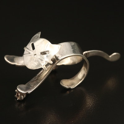 Sterling Cat Brooch with Articulated Head