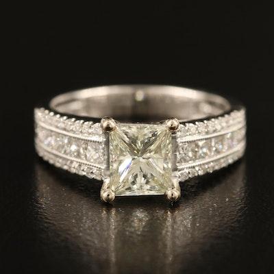 18K 1.22 CT Center Diamond Ring with 0.85 CTW Side Diamonds