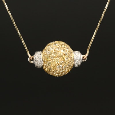 14K Diamond and Sapphire Sphere Pendant on 10K Box Chain Neckalce