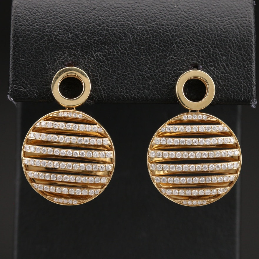 14K 1.00 CTW Diamond Multi-Row Circle Earrings