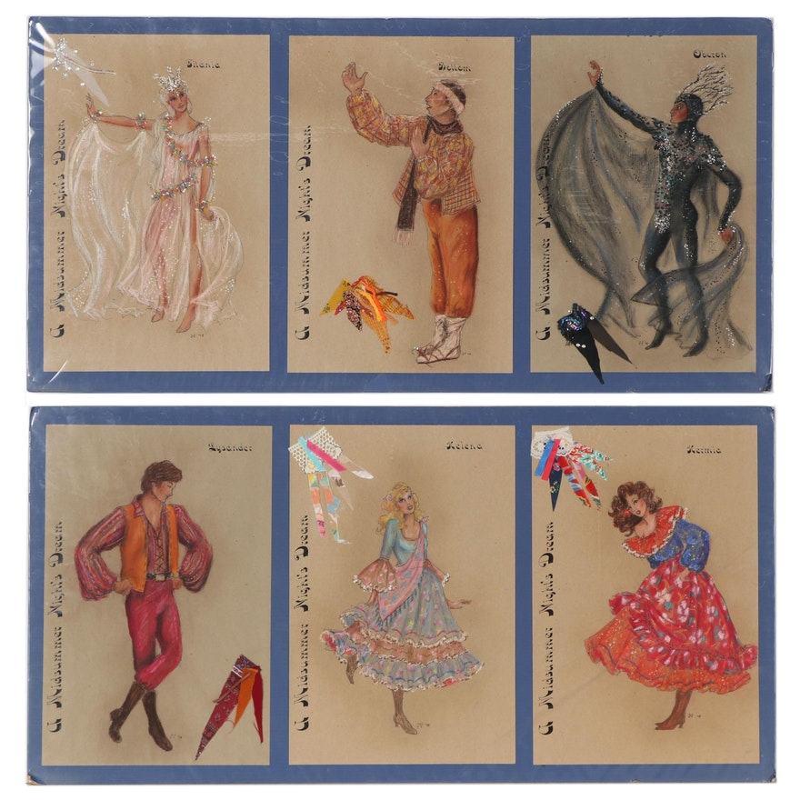 """H. Francis Fuselier Mixed Media Costume Designs for """"A Midsummer Night's Dream"""""""