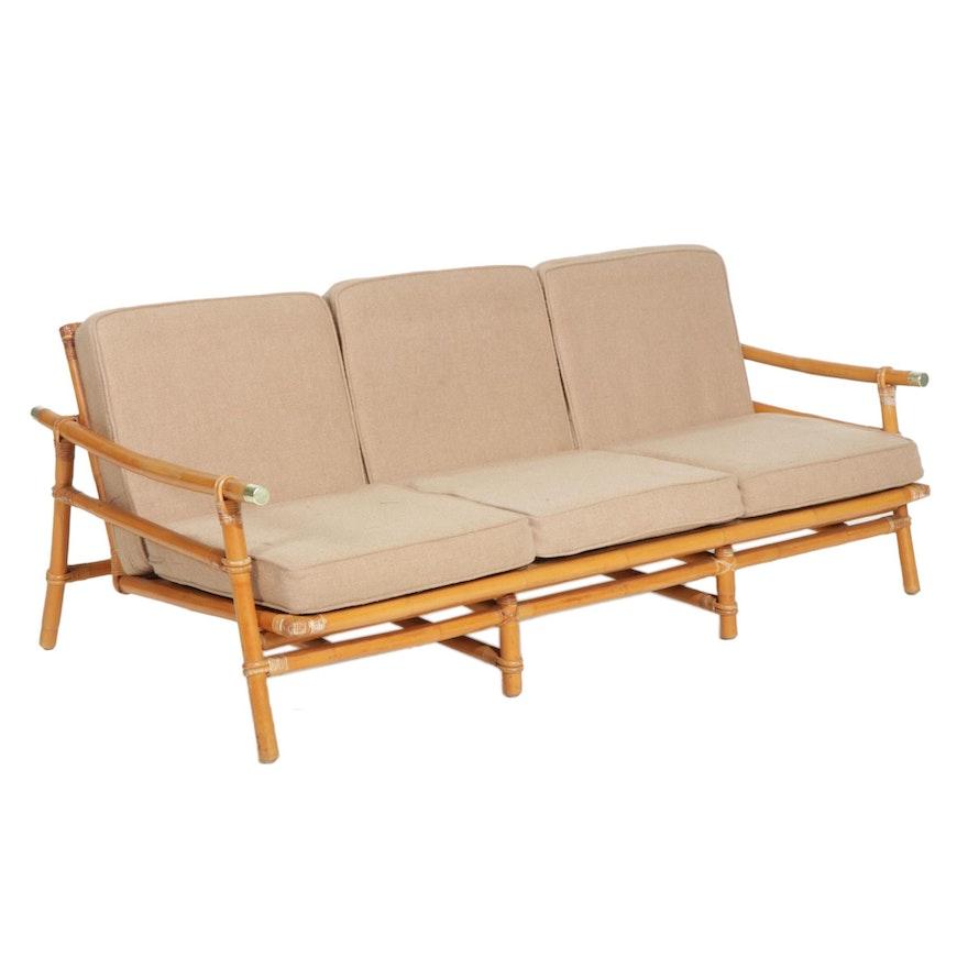 John Wisner for Ficks Reed Mid Century Modern Rattan Campaign Sofa