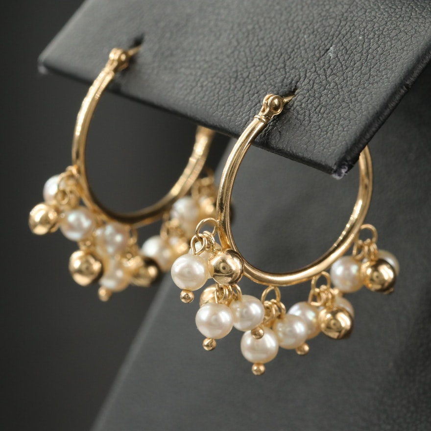 14K Hoop Earrings with Pearl and Bead Tassels