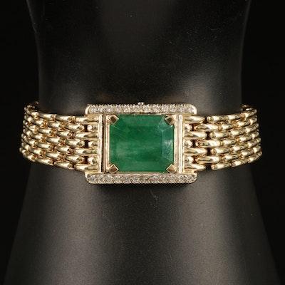 14K 13.67 CT Emerald and Diamond Bracelet