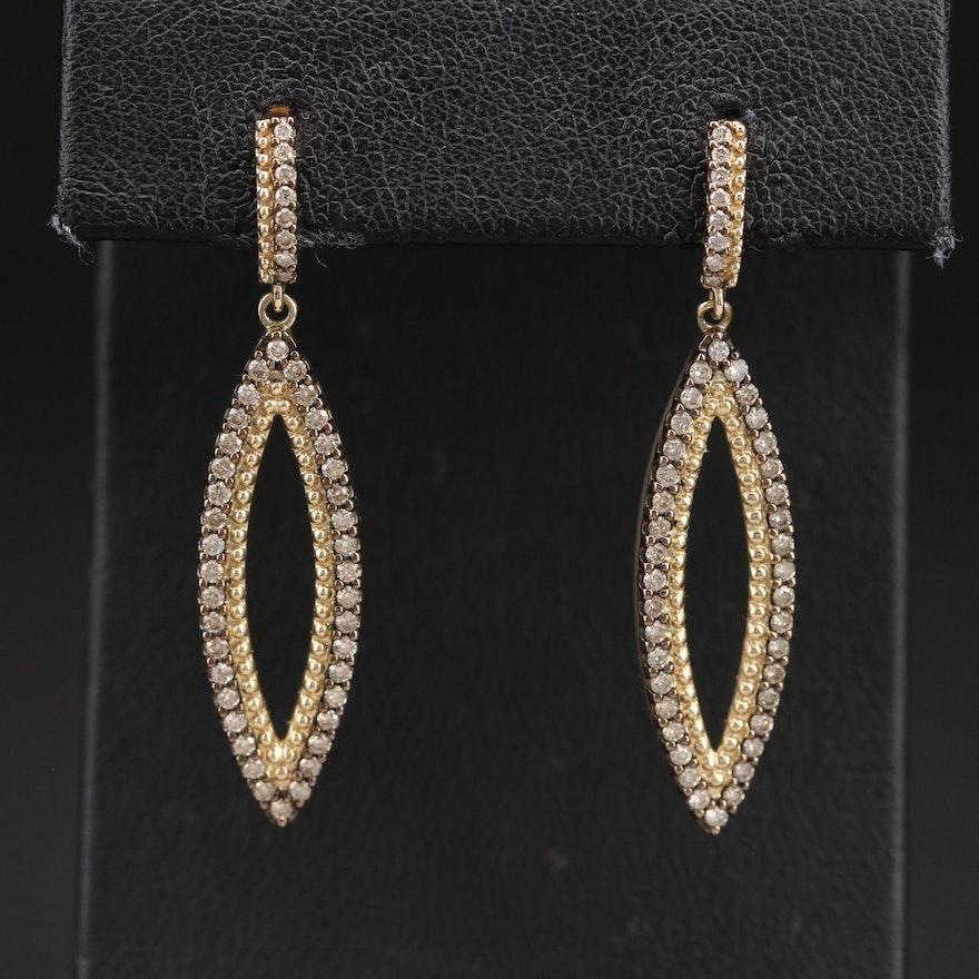 10K 0.86 CTW Diamond Navette Earrings