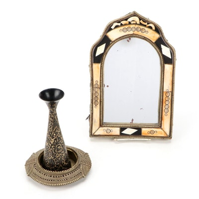 Moroccan Style Bone Inlaid Accent Mirror with Indian Brass Vase and Ashtray