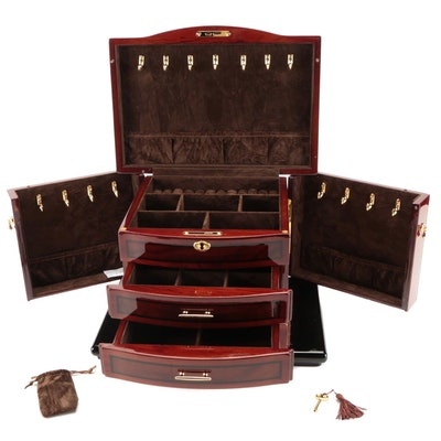 Jere High Gloss Mahogany and Burl Wood Finish Three-Drawer Jewelry Box