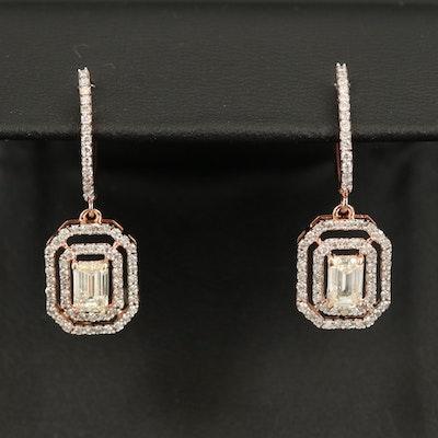 14K 1.03 CTW Diamond Earrings with 0.52 CTW Diamond Double Halos