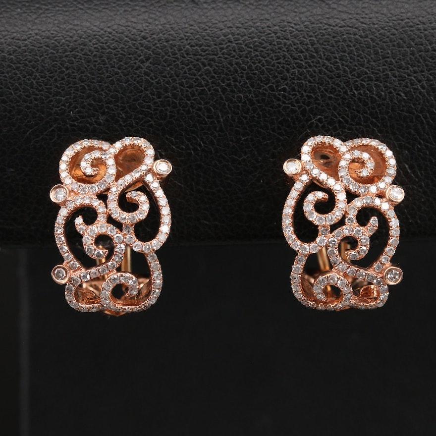 10K Rose Gold 1.00 CTW Diamond J Hoop Earrings