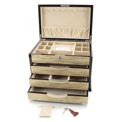 Jere High Gloss Black Finish Wood Jewelry Box