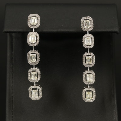 14K 2.90 CTW Diamond Drop Earrings with 0.76 CTW Diamond Halos