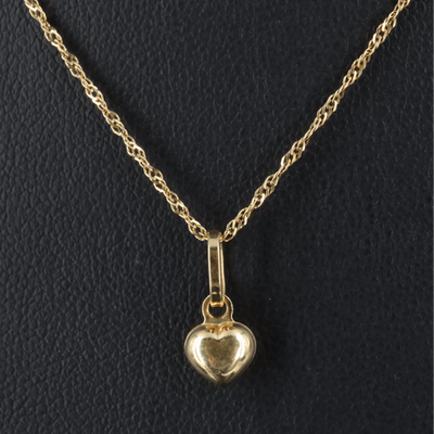 18K Puffed Heart Pendant Necklace