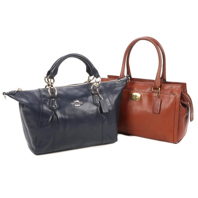 Two Leather Coach Satchel Handbags
