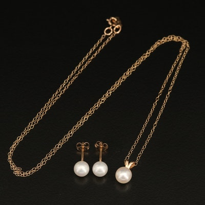 10K Pearl Solitaire Necklace and Earring Set