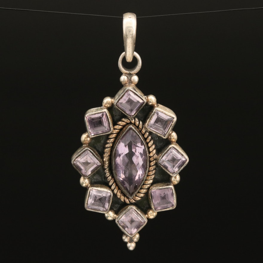 Sterling Amethyst Pendant with Rope Detail