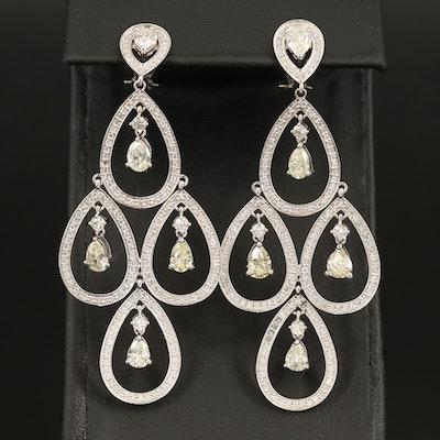14K Diamond Teardrop Chandelier Earrings