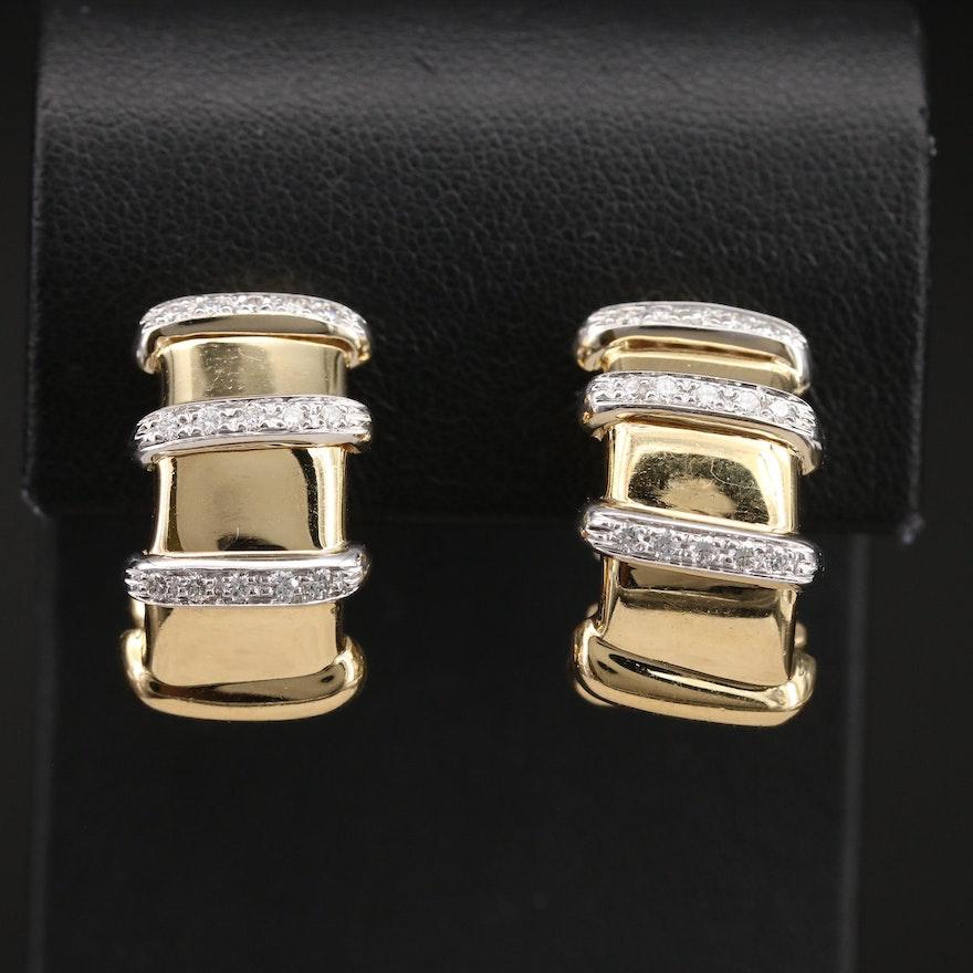"Roberto Coin ""Nabucco"" Italian 18K 0.68 CTW Diamond J Hoop Earrings"