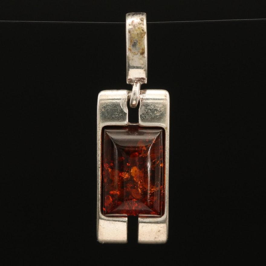 Sterling Amber Pendant