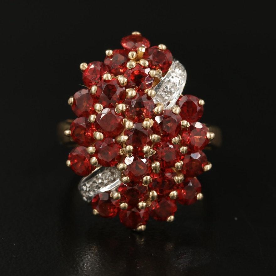14K Garnet and Diamond Cluster Ring