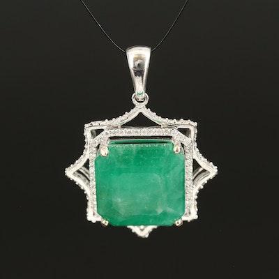 14K 17.55 CT Emerald and Diamond Star Pendant