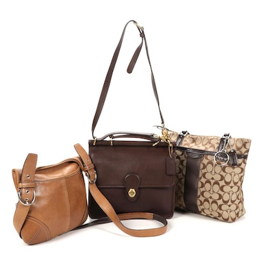 Coach Shoulder and Cross Body Bags in Monogrammed Canvas and Leather