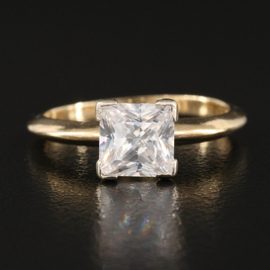 14K Knife-Edge Solitaire Ring with Cubic Zirconia