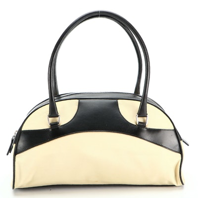 Prada Bowling Bag in Leather and Tessuto Nylon