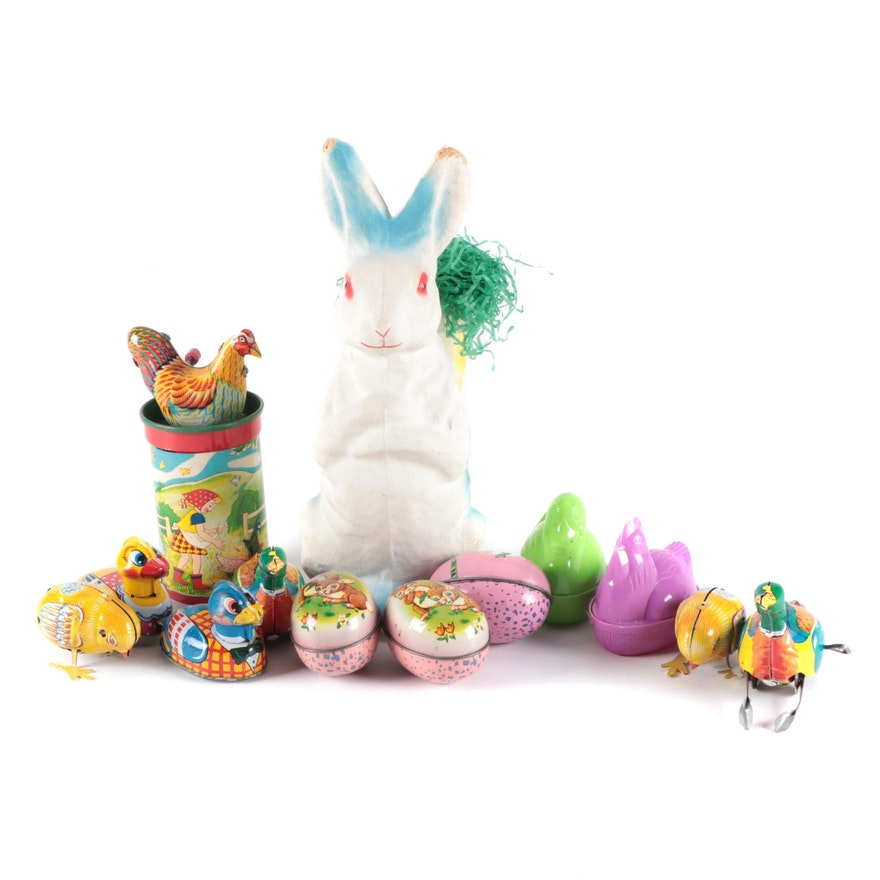 Papier-Mâché Rabbit, Wind-Up Tin Toys, and Other Easter and Spring Decor