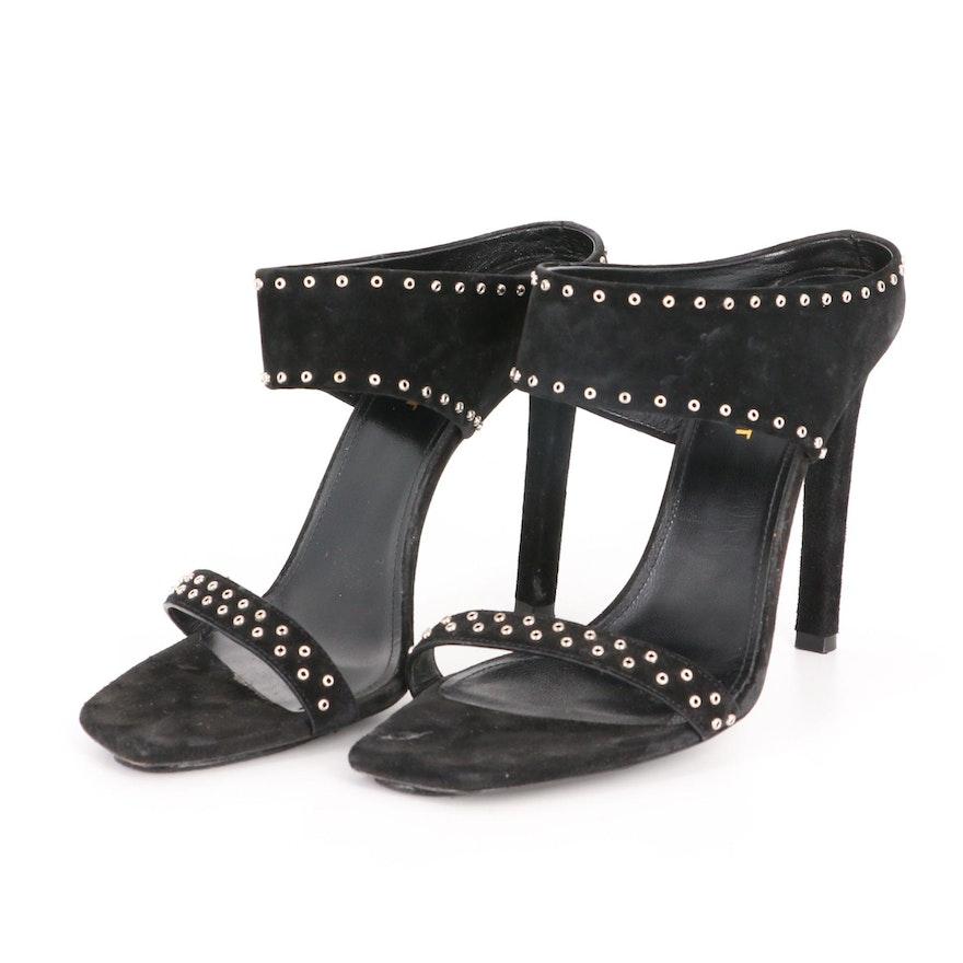 Saint Laurent Mica High-Heel Sandals in Studded Black Suede