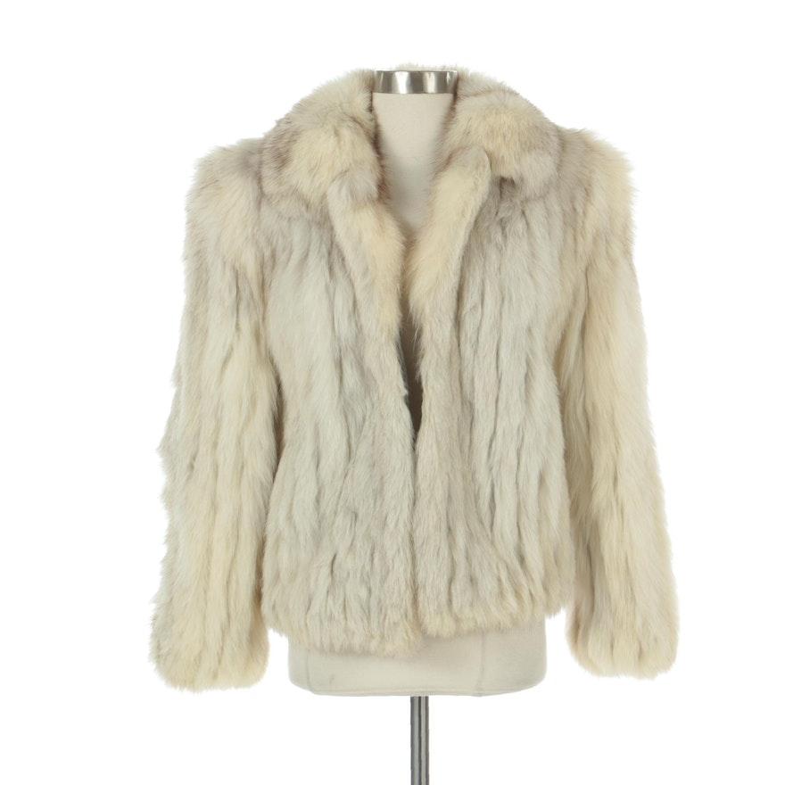 White-Grey Fox Fur Jacket with Suede Inserts by Saga Fox